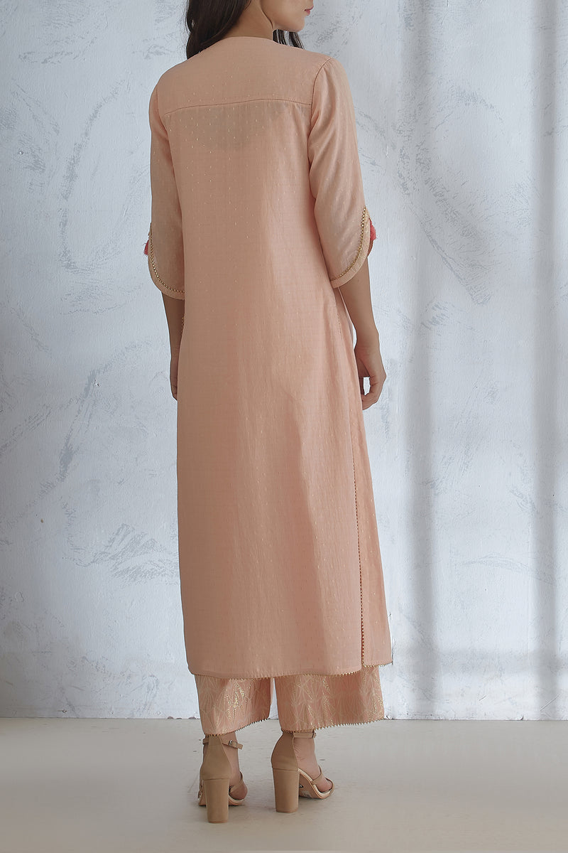 Peach Pin Tuck Kurta