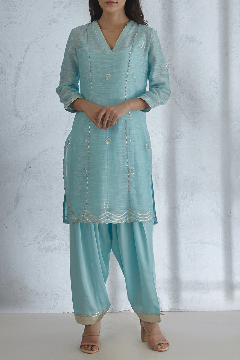 Scalloped Aqua Kurta