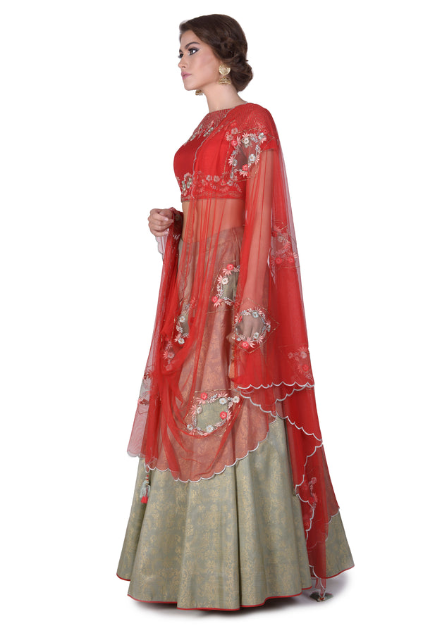 Embroidered blouse with embroidered dupatta and foil printed lehenga