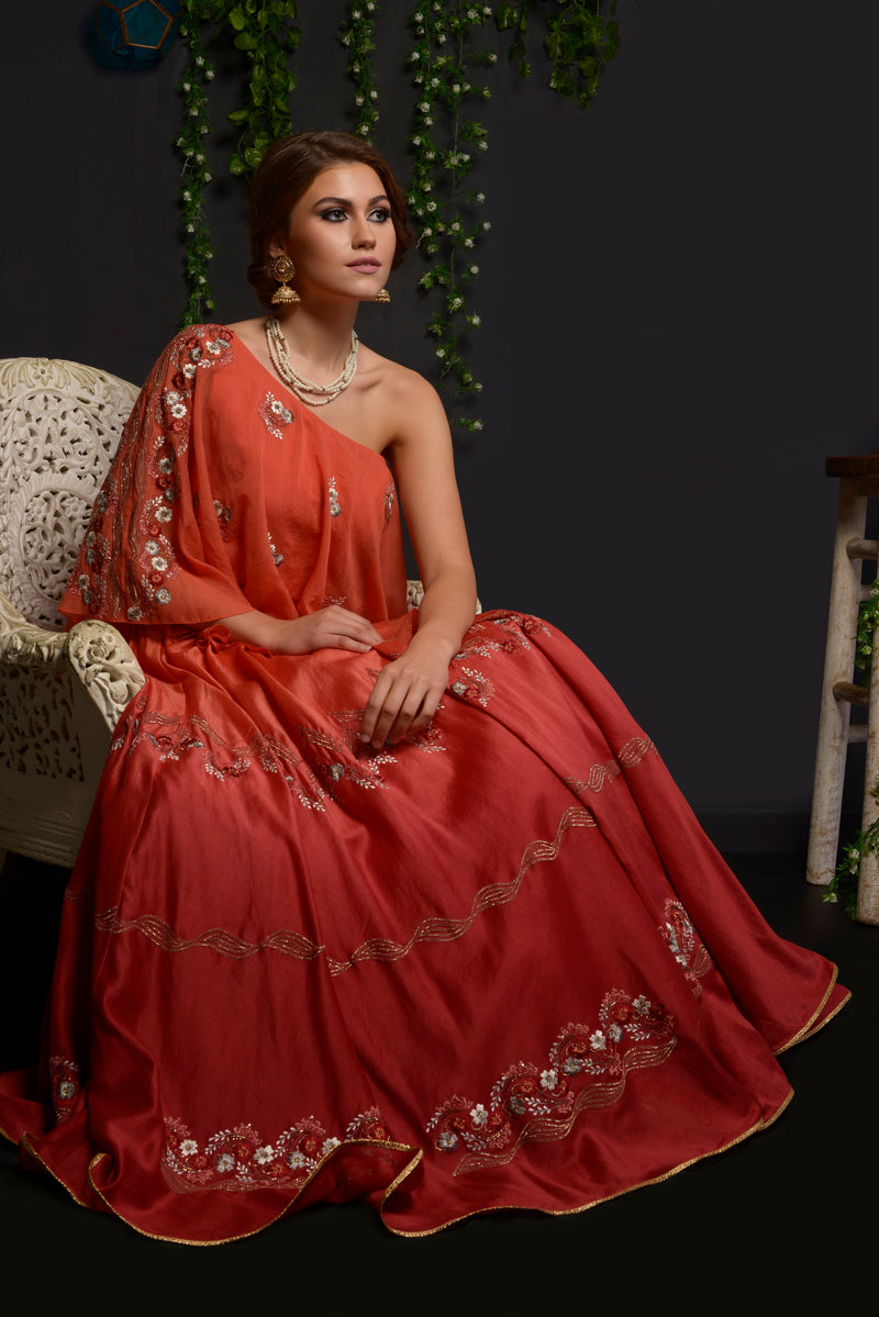 Red  flare circular embroidered lehenga