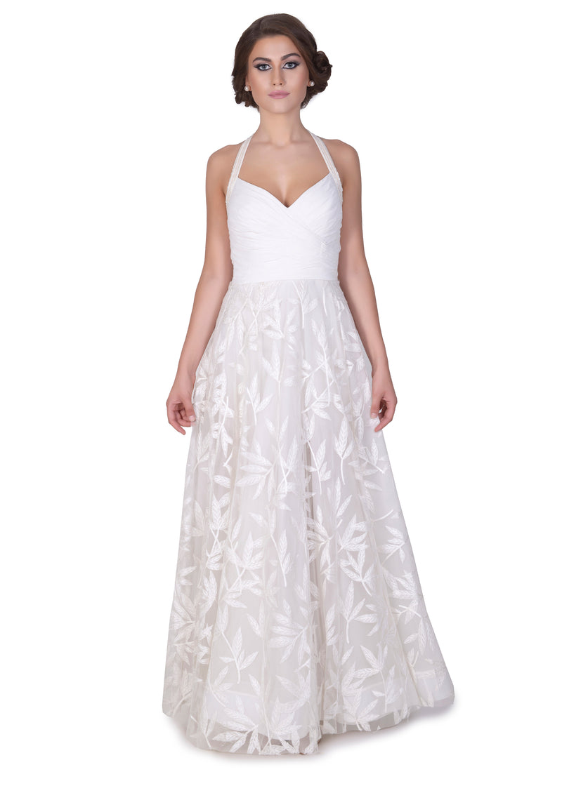 White heavy georette flared gown