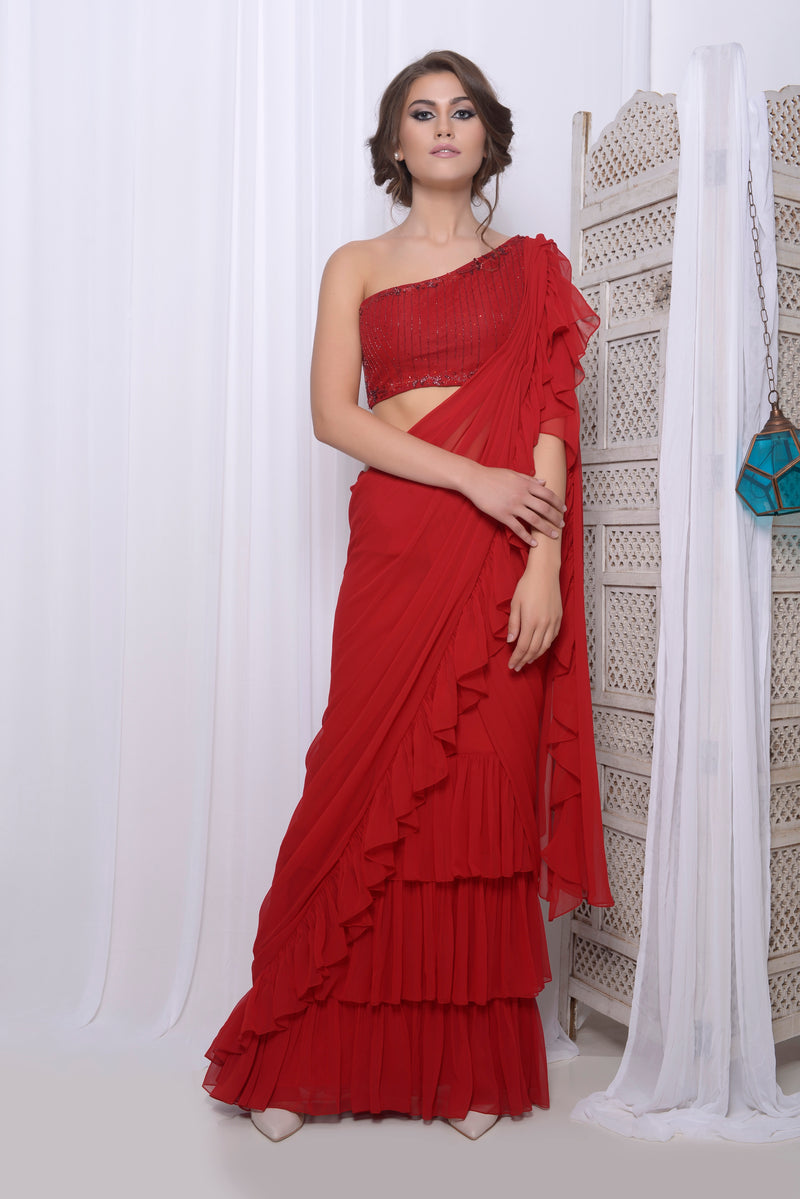 embroidered one shoulder frill drape saree
