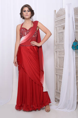 Red draped saree