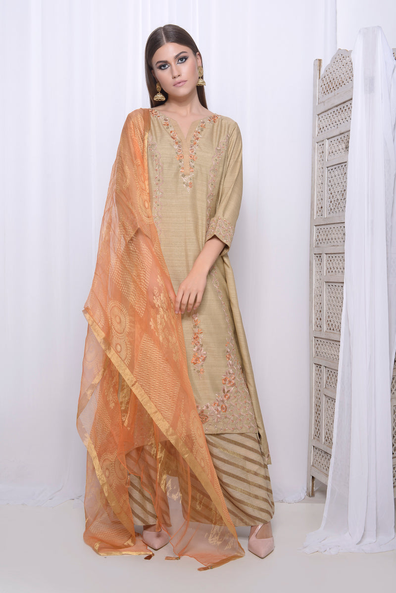 Embroidered straight Kurta with asymmetric hem with straight pants and printed dupatta