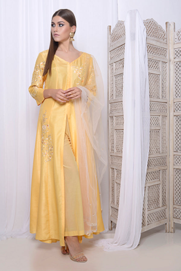 Embroidered front open anarkali with narrow pants and embroidered dupatta