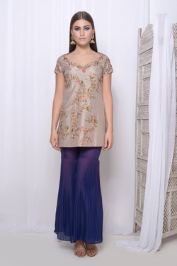 Embroidered short kurta with sharara and heat pleat dupatta
