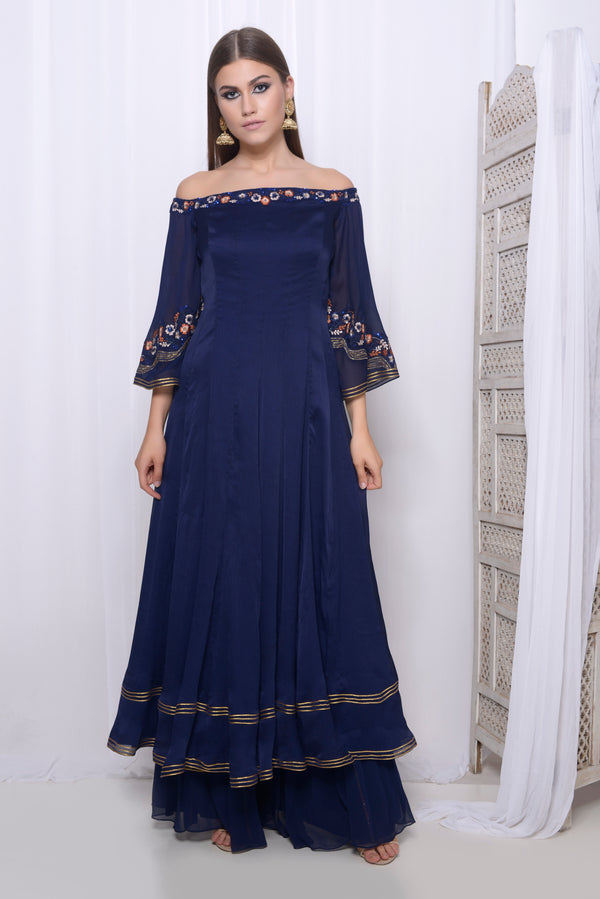 Embroidered off-shoulder anarkali with flare pants and embroidered dupatta
