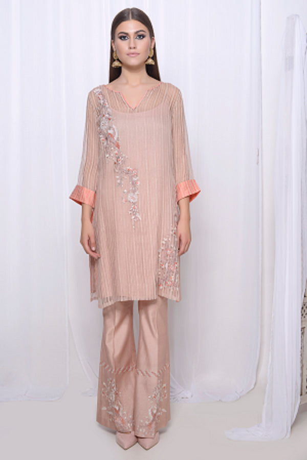 Embroidered sheer straight kurta with bootcut pants and hand embroidered dupatta