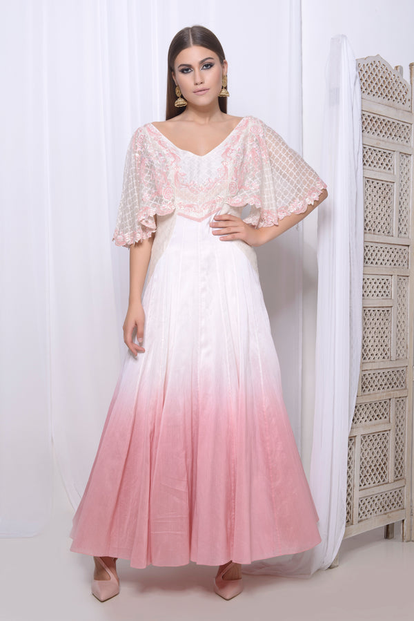 Embroidered cape sleeve anarkali with churidar