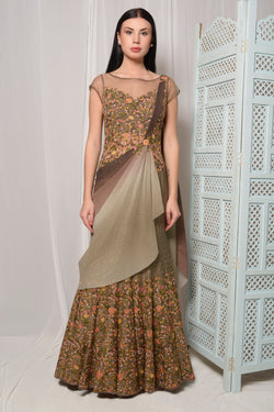 FULLY EMBROIDERED WITH SHIMMER DRAPE SAREE