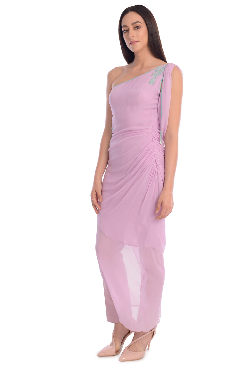 ONE SHOULDER DRAPE KURTA AND STRAIGHT PANTS