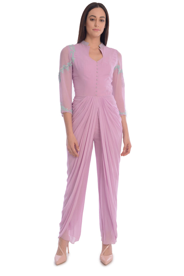 DHOTI STYLE DRAPE JUMPSUIT WITH FULL SLEEVES AND SHEER BACK.