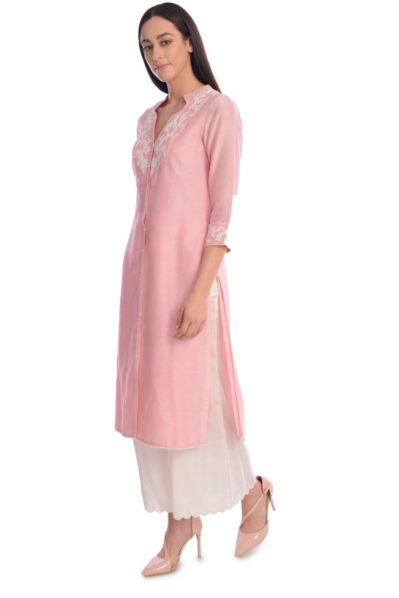 BUTTON UP EMBROIDED KURTA WITH SCALLOP HEM PALAZZO