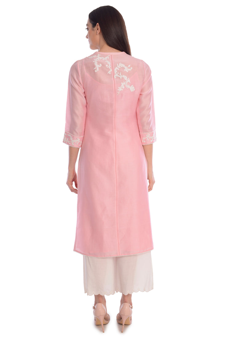 Pink button-front tunic with pants