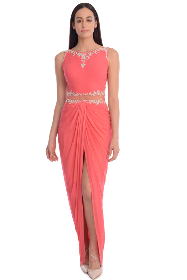 EMBROIDED DRAPE DRESS WITH FRONT SLIT.