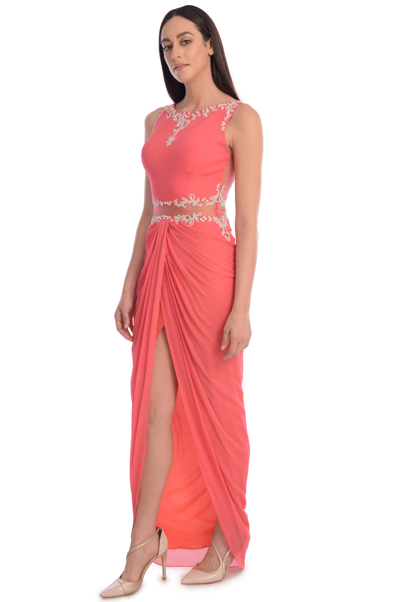 EMBROIDED DRAPE DRESS WITH FRONT SLIT