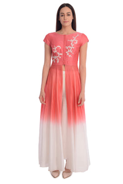 EMBROIDED KURTA WITH FRONT OPENING AND STRAIGHT PANTS