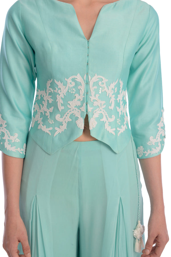 EMBROIDED JACKET WITH PLEATED PALAZZO