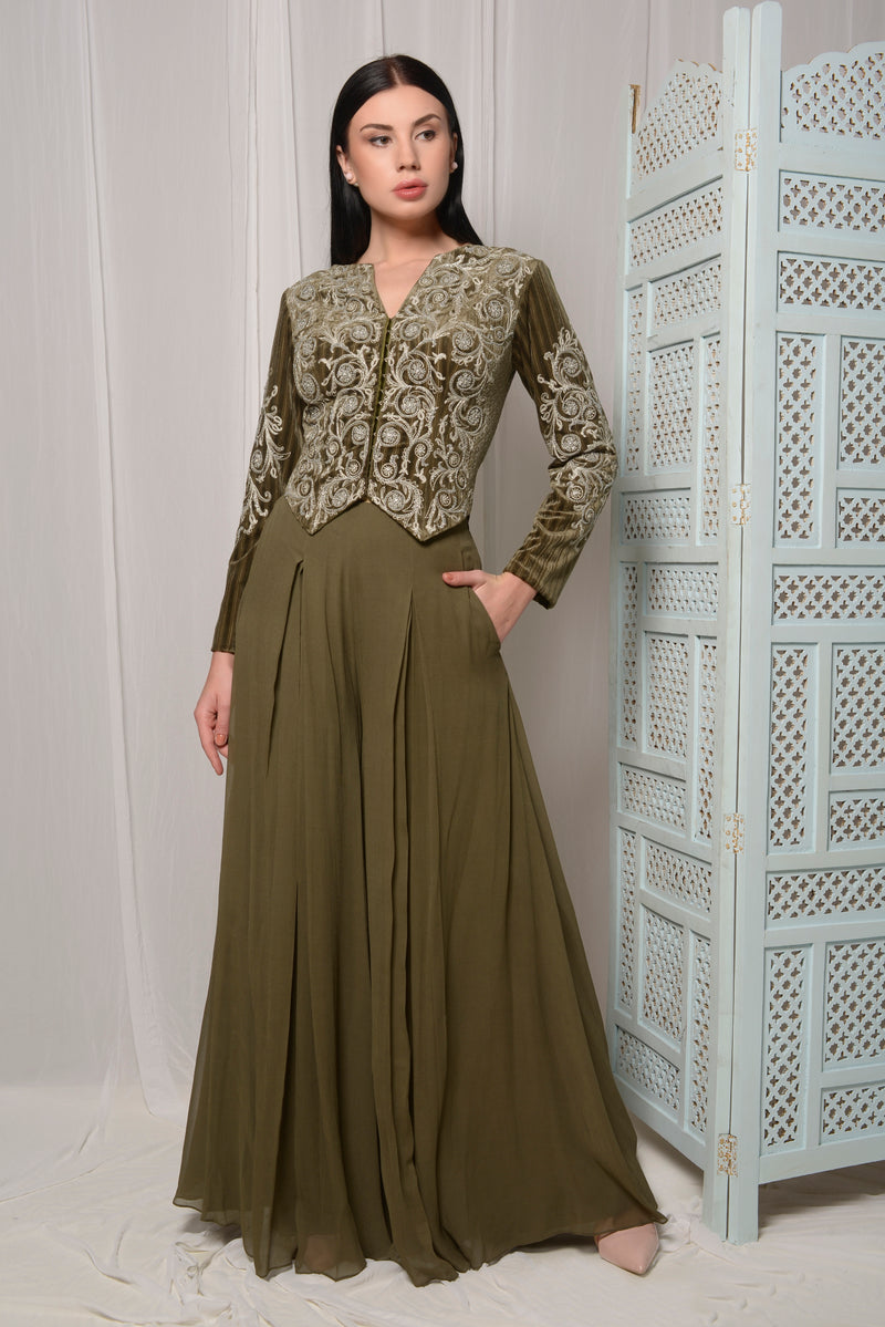 SHORT EMBROIDERED JACKET WITH FLAIRED PALLAZOS