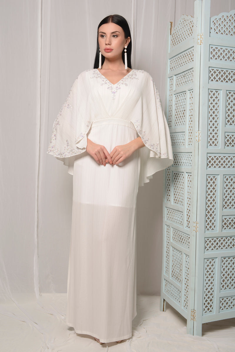 IVORY CAPE DRESS WITH SIDE SLITS