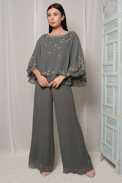 DOUBLE CAPE EMBROIDERED JUMPSUIT