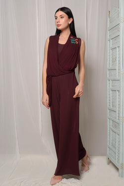 SEQUINED EMBROIDERED DRAPED JUMPSUIT