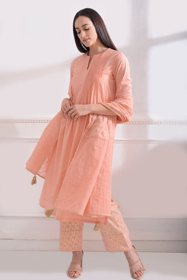Dark Peach Kurta Set