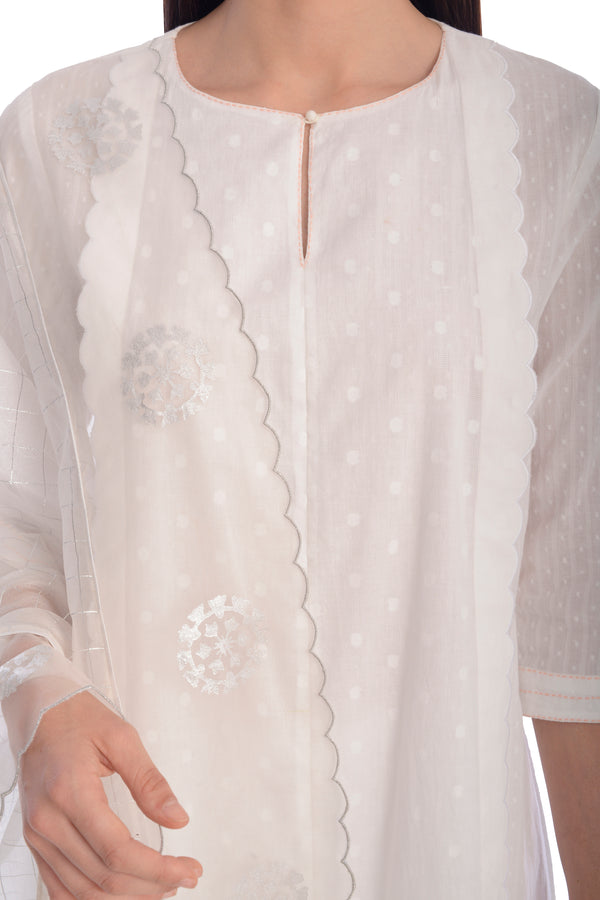WHITE KURTA SET
