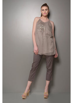 Grey embroidered top