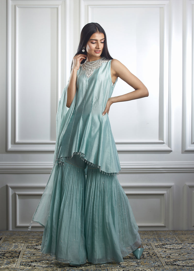 Aqua kurta sharara set