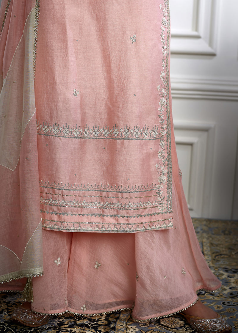 Peach pink  kurta sharara set