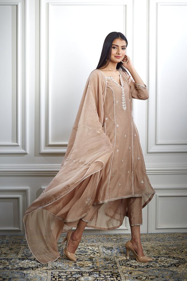 NUDE ASYMMETRIC AARI EMBROIDERED KURTA WITH ANKLE- LENGTH PANT AND EMBROIDERED