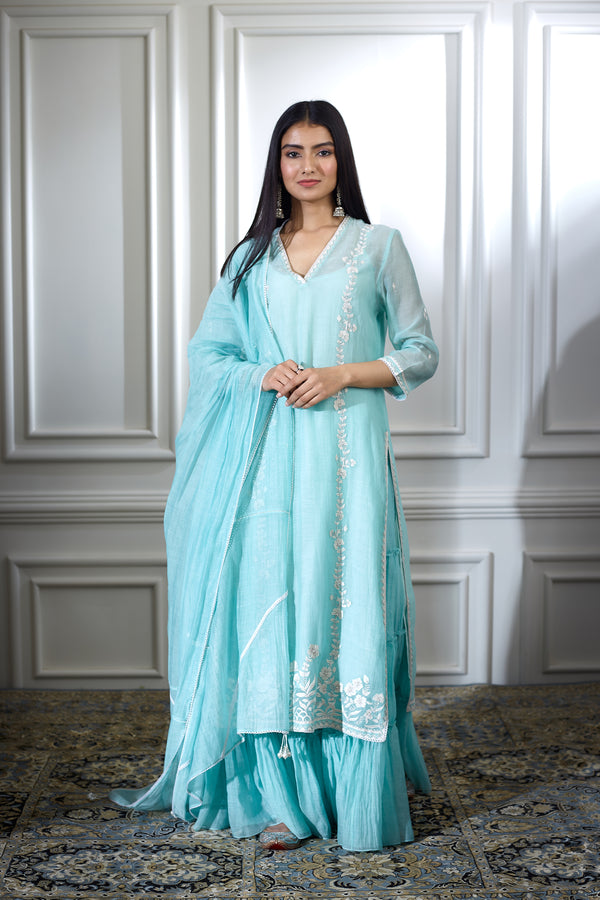AQUA EMBROIDERED KURTA WITH TIERED SHARARA AND LACE DETAILING