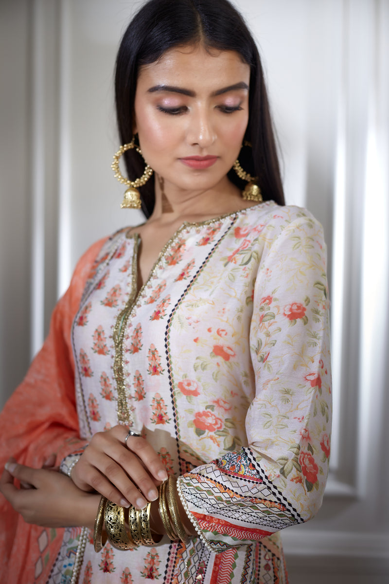 Ivory printed and hand embroidered kurta sharara set