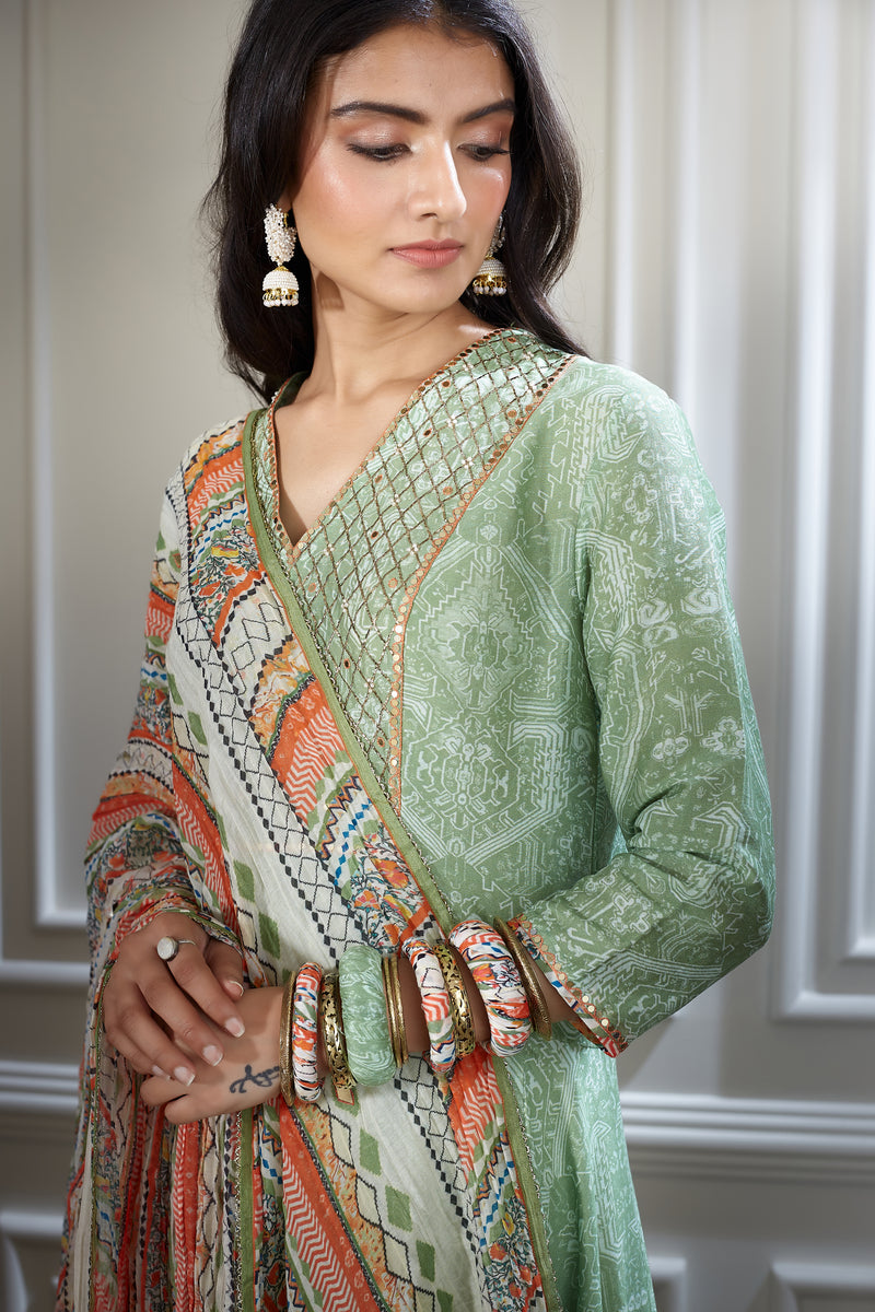 Green asymmetric kurta sharara set