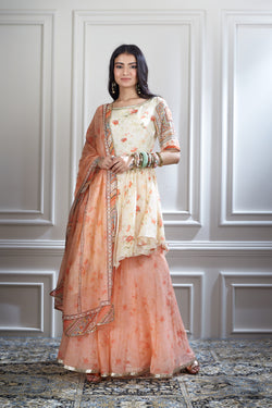 Ivory printed and embroidered sharara set