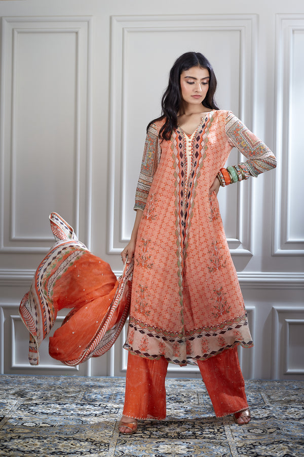 Orange printed and embroidered kurta set