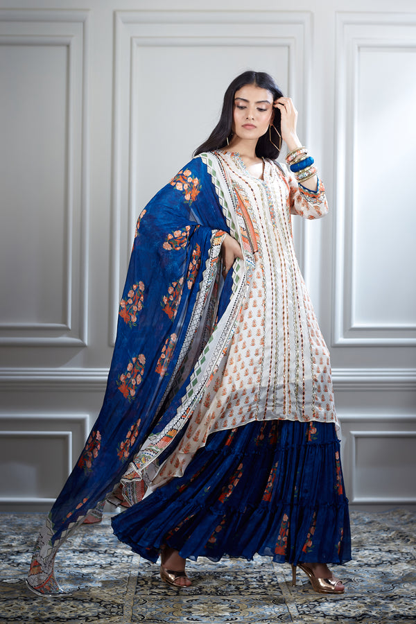 Blue & ivory printed and mirror embellished kurta with sharara and dupatta