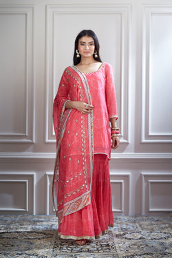 Pink printed and Embroidered kurta  sharara set