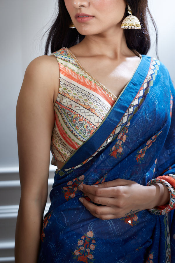 Blue saree with Printed & embroidered blouse