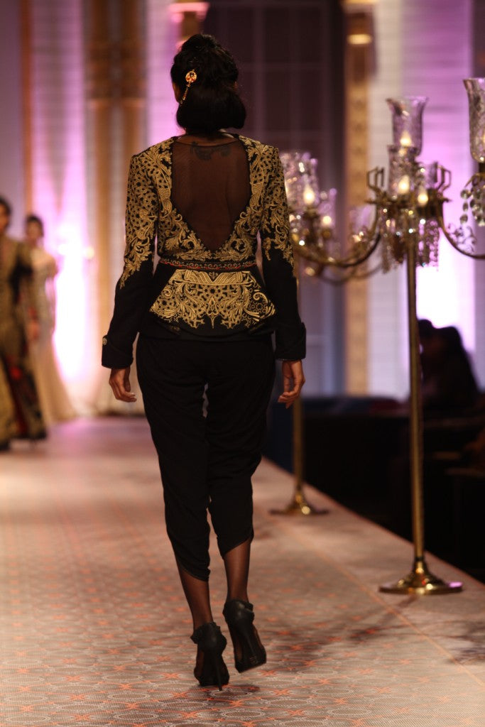 Embroidered Jacket and Dhoti Set