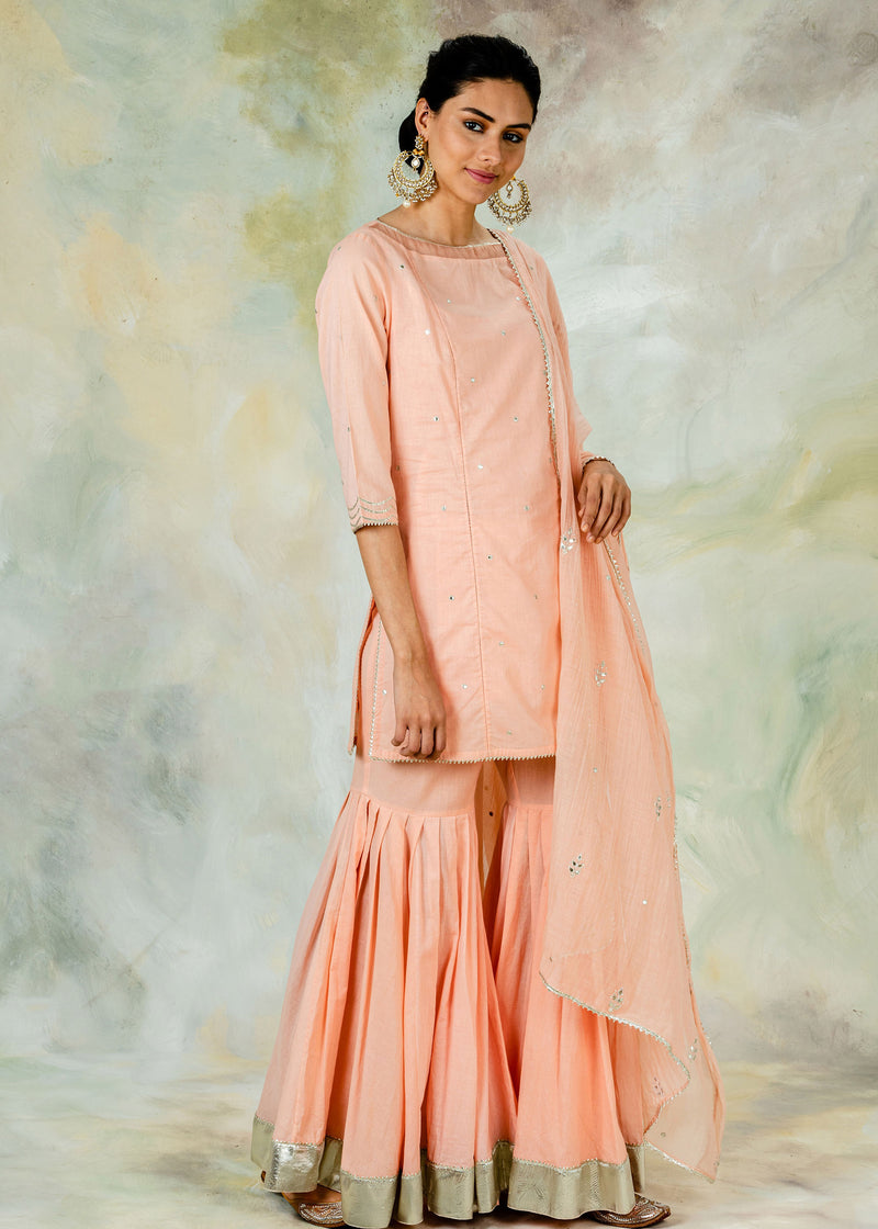 Peach kurta sharara set