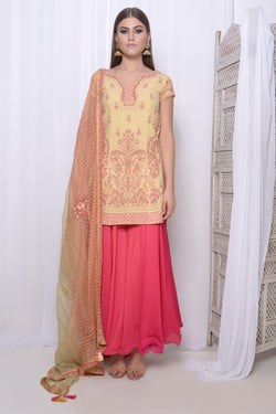 Embroidered short kurta with embroidered dupatta and circular palazzo