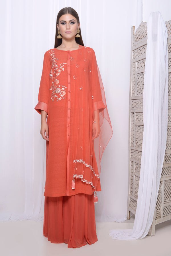 Embroidered Straight kurta with panel palazzo and embroidered dupatta