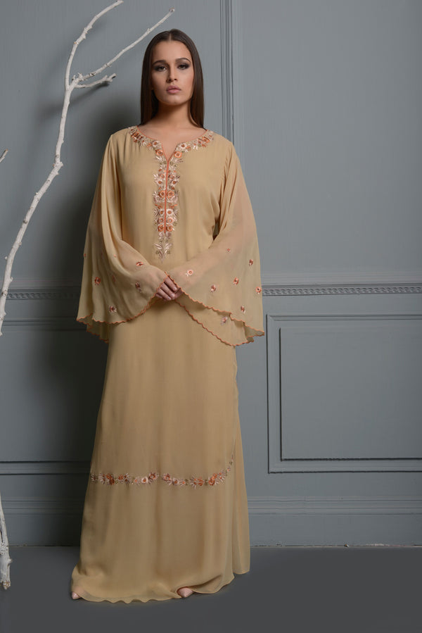 Beige Embroidered Kaftan