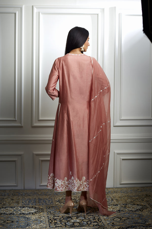 DUSTY PINK EMBROIDERED HIGH LOW KURTA SET