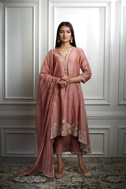 DUSTY PINK EMBROIDRED HIGH LOW KURTA SET WITH PEARL HIGHLIGHTING