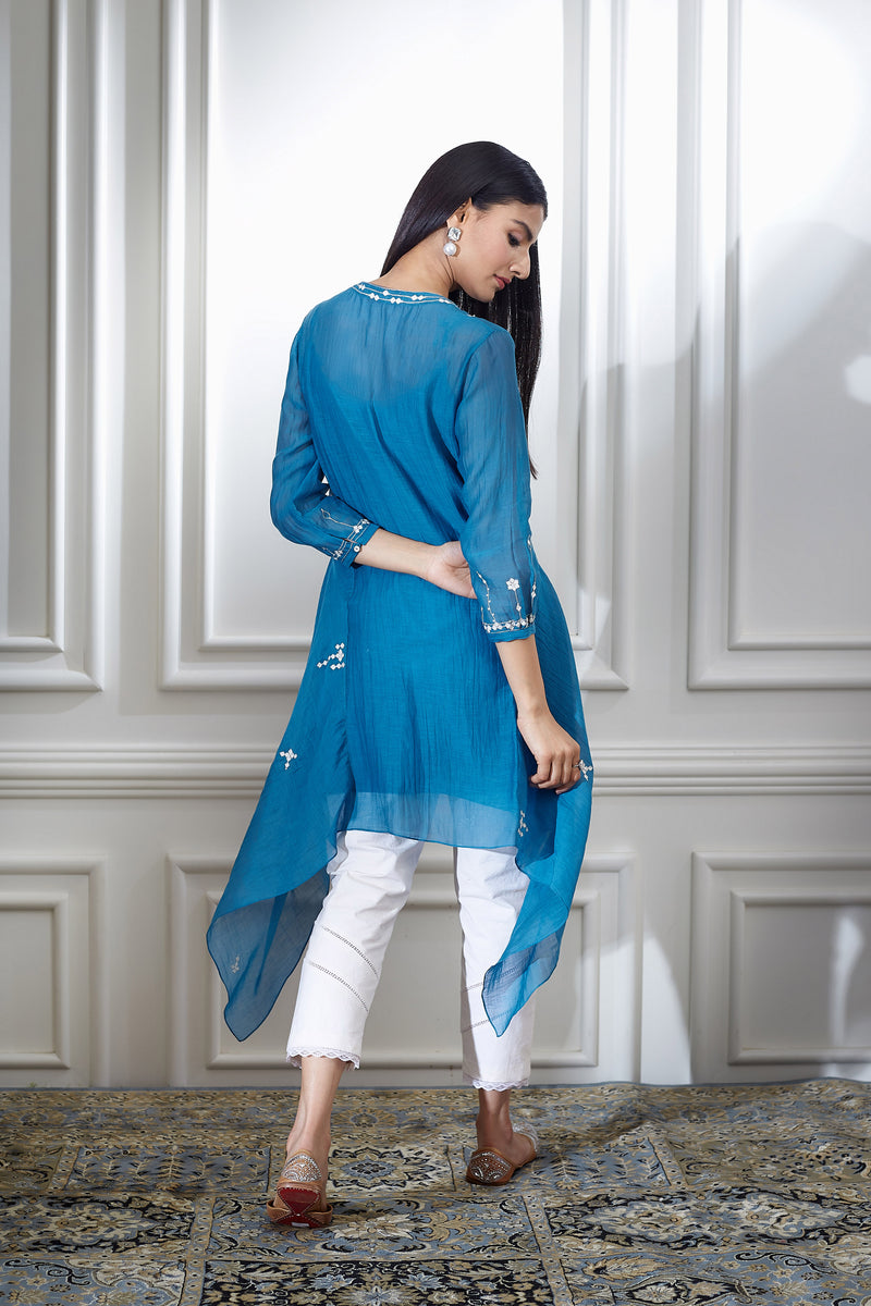 SMOKEY BLUE AARI EMBROIDRED TUNIC WITH PEARL HIGHLIGHTING PAIRED WITH PANTS
