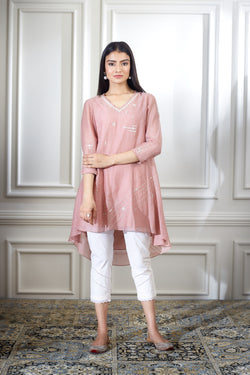 DUSTY PINK AARI EMBROIDRED TUNIC WITH PEARL HIGHLIGHTING PAIRED WITH ANKLE LENGTH PANTS