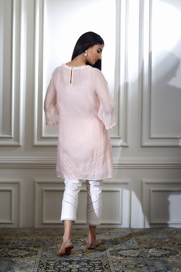 SOFT PEACH AARI Embroidered TUNIC WITH PEARL HIGHLIGHTING PAIRED WITH ANKLE LENGTH PANTS